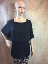 Zara Black Layered Top With Faux Leather Detail Size Medium B21 Ref 5580 346