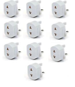 2-Pin To 3-Pin UK Shaver Adapter Plug Socket Converter EU/US TO UK PACK OF 10