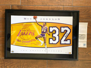 """LA Lakers MAGIC jOHNSON AUTOGRAPHED UDA """"JERSEY NUMBERS PIECE"""" Limited #3 / 32"""