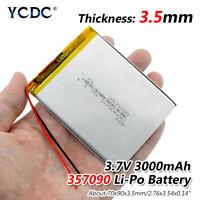 3.7V 3000mAh Li-Po Rechargeable Battery 357090 For MP5 DVD GPS Mobile Phone 6A5