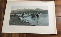 Washerwomen Of Torre At The Lake 1890 Hand Colored Etching E Cecconi Pisani