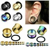 Metal Double Flared Screw Fit Steel Ear Plugs Flesh Tunnels Gauge Earrings