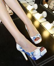 Ladies Womens Elegant Peep Toe High Heel Platform Pumps Shoes UK Size 1--8 F2