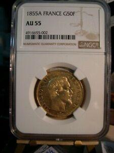 1855-A France 50 Francs, Gold, Napoleon III, AU 55, NGC, Beauty, Photo's