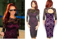 Amy Childs Lipsy Bodycon Lace Midi Dress Size 12 Purple Black 3/4 Sleeve Party