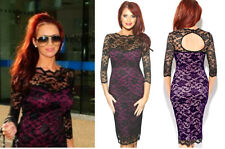 Amy Childs Lipsy Bodycon Lace Midi Dress 12 3/4 Sleeve Purple Black Xmas Party