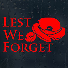 Poppy Day Lest We Forget Remembrance Car Decal Vinyl Sticker For Bumper Window