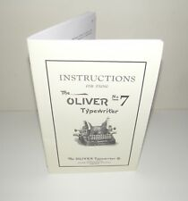 Oliver 7 Typewriter instruction User Manual and Brochure