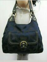 Coach Campbell Signature Metallic Navy Blue / Black Shoulder Bag F26245