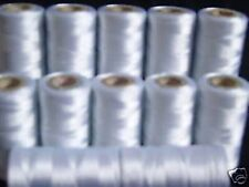 10 x White Silk art embroidery threads Spools, High Quality