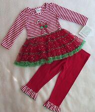 Bonnie Jean Little Girls 2-Piece Striped Candy Cane Dress & Leggins 2/2T - NWT