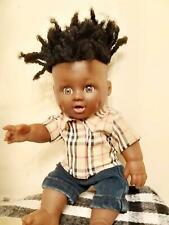 UK Cute Black -brown_mixed race_12in Boy Doll  hair twist in cool clothes?