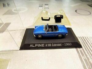 Alpine A108 cabriolet Renault Bleue 1/43 Norev M6 Neuf Boite plastique + capote