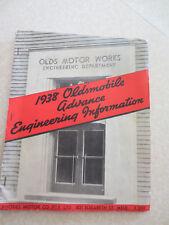 Original Australian 1938 Oldsmobile Advance Engineering Information booklet