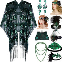 Gatsby Headband Green Party Dress Accessories Pattern Earring Evening Prom Gowns