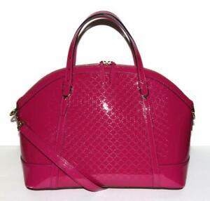 GUCCI Pink NICE microGuccisima Monogram Top Handle Shoulder Crossbody Bag Lg NEW