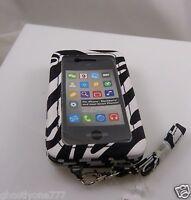 fits iPhone 4 smart phone Id holder zebra print black white wallet wristlet xmas
