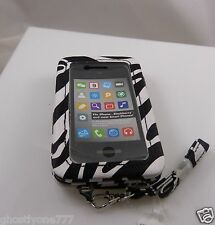 fits iPhone 4 smart phone Id holder zebra print black white wallet wristlet xmas