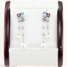 Pendientes de joyería con gemas de oro blanco de 14 quilates diamante