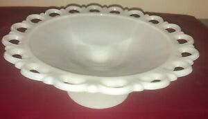 After Christmas Special~Anchor Hocking Old Colony Lace Milk Glass Pedestal Center Fruit Bowl circa 1960/'s