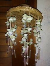 "Vintage 13"" Tall Hanging Sea Shell Whicker Mobile Windchime Wind Chime Beach"