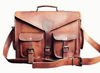 Large-XXL Brown Vintage Style Handcrafted Leather Satchel Briefcase Laptop Bag