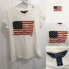 Ralph Lauren T-Shirt Off White With Distressed USA American Flag Logo Age 7