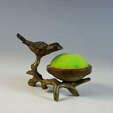 Antique Bronze Bird Pin Cushion Green