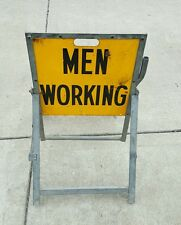 BELL SYSTEM MEN WORKING SIGN YELLOW CAUTION SAFETY CONSTRUCTION TELEPHONE CO