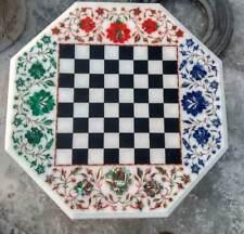 2' Chess Marble Table Top Pietra Dura Inlay Children Play Pietra Dura u8