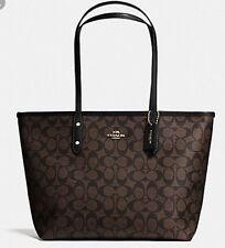 Coach Signature City Zip Tote  Brown/Black Handbag F58292 NWT