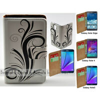 For Samsung Galaxy Note Series Black Swirl Print Wallet Mobile Phone Case Cover