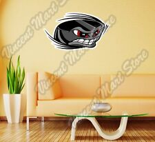 """Ice Hockey Puck Face Stick Angry Sport Wall Sticker Room Interior Decor 25""""X14"""""""