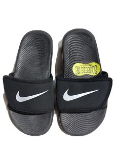 Nike Kawa NEW Kids Solar Soft Black Slide Sandals Size 2Y/33.5