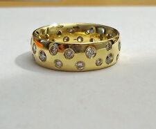 Sternenhimmelring 750 Gelbgold 27 Brillanten 0,94 ct  alle Ringgrößen Handarbeit