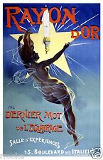 Rayon D'Or Paris France NUDE FAIRY Lighting Advertising Poster Fine Art Print