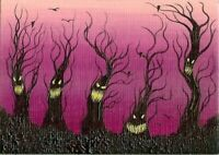 ACEO Original Halloween Fantasy Fun Animated Spooky Trees Happy Art ATC HYMES