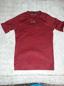 Under Armour Shirt Mens LG Compression Maroon Short Sleeve Tee
