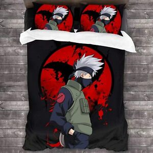 Naruto0 Team 7 3Pcs Bedding Set Duvet Cover Pillowcases Comforter Cover US Size