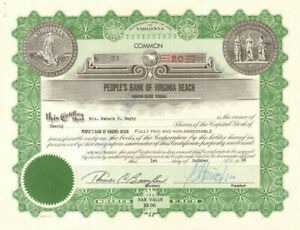 People's Bank of Virginia Beach stock certificate share
