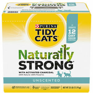 Purina Tidy Cats Naturally Strong Unscented, Clumping Multi Cat Litter 35 lbs ✔️