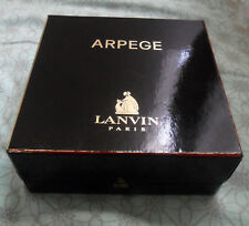 Vintage Arpege by LANVIN Empty French Square BOX, Black & Gold, Made in France