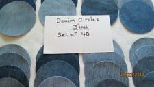 "Denim Circles 3"" Flower Pads Patch Crafts Hair Clips Penny Blues Usa Made"