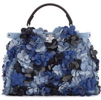 Fendi Peekaboo Small Blue Denim Flowers Satchel Bag Women's Handbags B3324