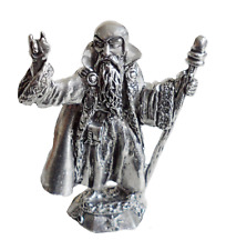 Merlin With His Staff Pewter Ornament - Hand Made in Cornwall