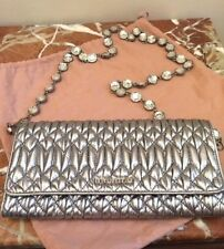 MIU MIU MATELASSE Silver On Trend LEATHER WALLET ON A CRYSTAL (Necklace)  CHAIN! e9515dfe90de0