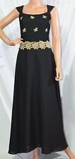 LOU GENE'S Evening Gown SZ 6 (34) Black Elegant Full Skirt Dress Floral LaceTrim