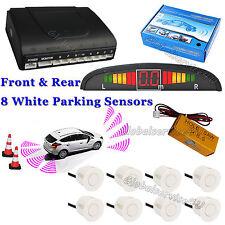 Car Reverse Parking 8 Sensors White Front & Rear Buzzer Alarm Kit + LED Display