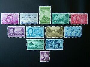 US STAMPS 1945 YEAR COMPLETE SET, SCOTT # 927-938. OG, MNH