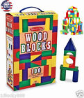 100 Piece Melissa & Doug Wooden Building Blocks Toy Set Classic Toys Kids NEW!!